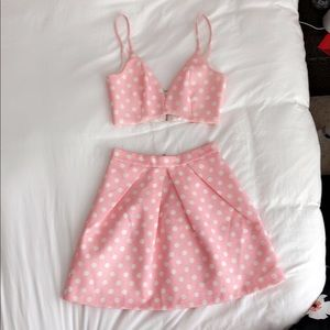 Pink and White Polka Dot Two Piece